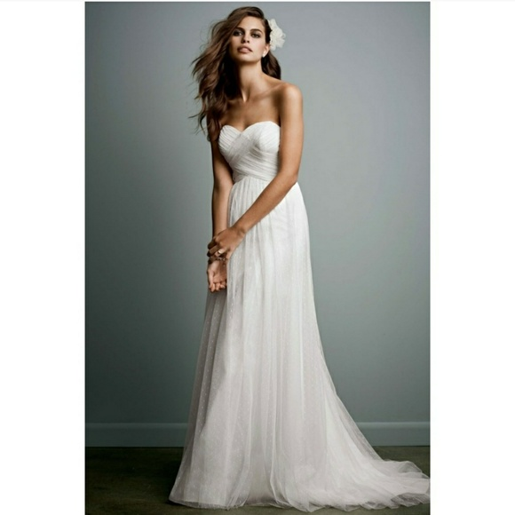 Plus size Galina Swiss dot tulle wedding dress